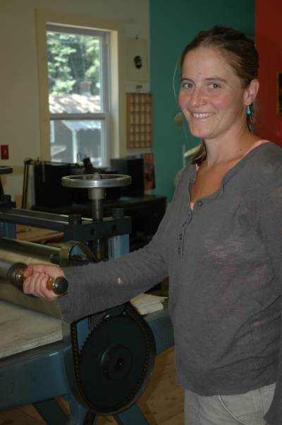 Helen O'Donnell and Twin Vixen's printing press