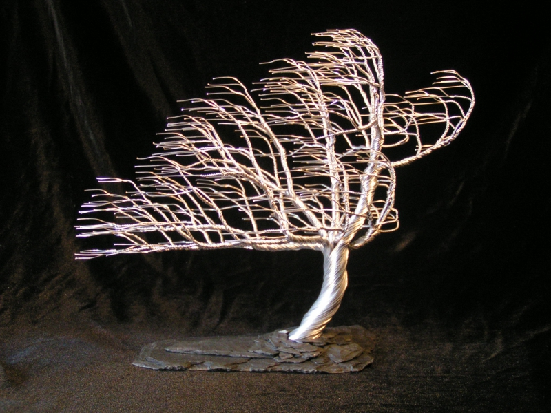 """Autumn Wind Blow,"" aluminum  wire tree sculpture by Randy Adams of Unity, N. H."