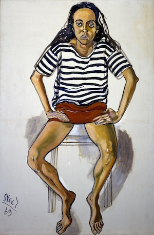 """Ginny in Striped Shirt, 1969"" bu Alice Neel, at the Bennington Museum"