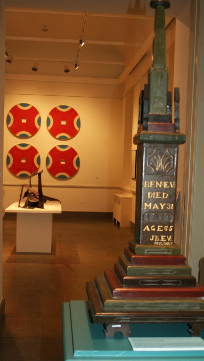 """Memory Tower"" from the exhibition ""Inward Adorings of the Mind"" in foreground with works in the Bennington Modernism in adjacent gallery"