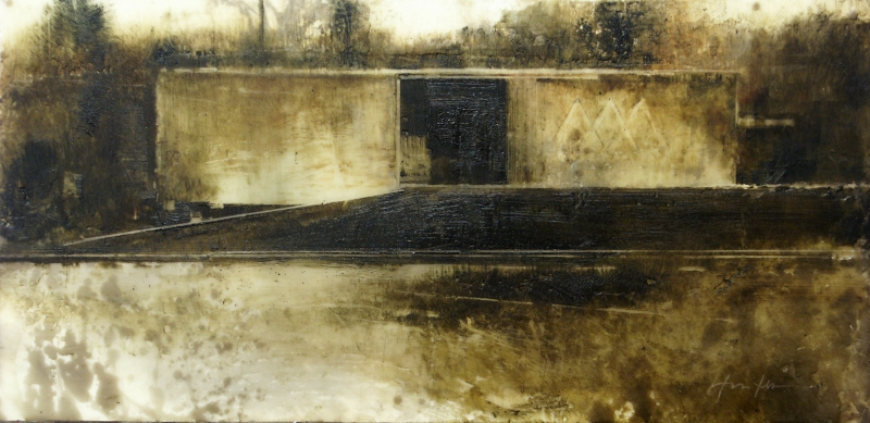 "Charlie Hunter, ""Boxcar,"" 2014, oil and encaustic, 6 x 12 inches"