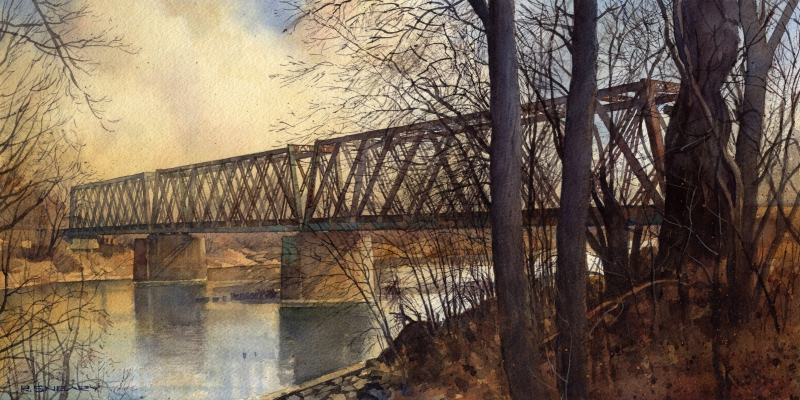 "Richard Sneary, ""Triple Warren""; 2014, watercolor, 10 in. x 20 in. Part of the exhibit ""Boxcars: Railroad Imagery in Contemporary Realism,"" at Brattleboro Museum and Art Center, through March 12."