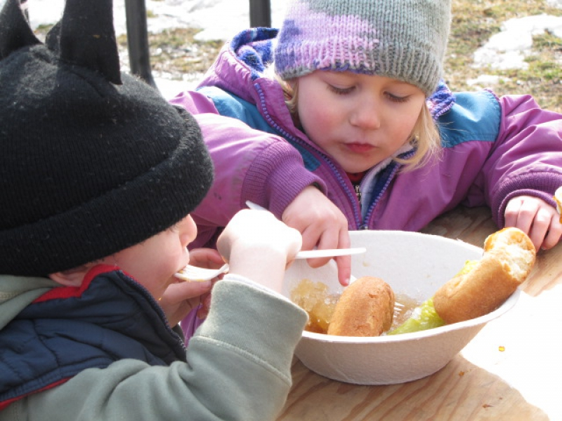 Kids enjoy sugar on snow at the Brattleboro Winter Carnival