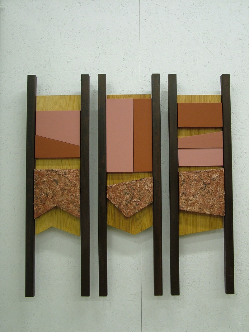 """Gateposts ? 4, 5, 6,"" by Pat Musick (54 in. x 52 in. x 4 in.; canvas, wood, steel, acrylic) at the Helmholtz Gallery in Manchester."