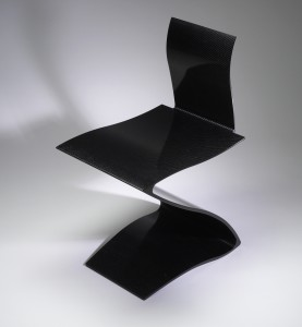 Z Chair, designed and manufactured in 2002. Designed by Giovanni Pagnotta (b. 1964). Manufactured by Vermont Composites, Bennington, Vt. Solid carbon fiber; natural carbon finished.