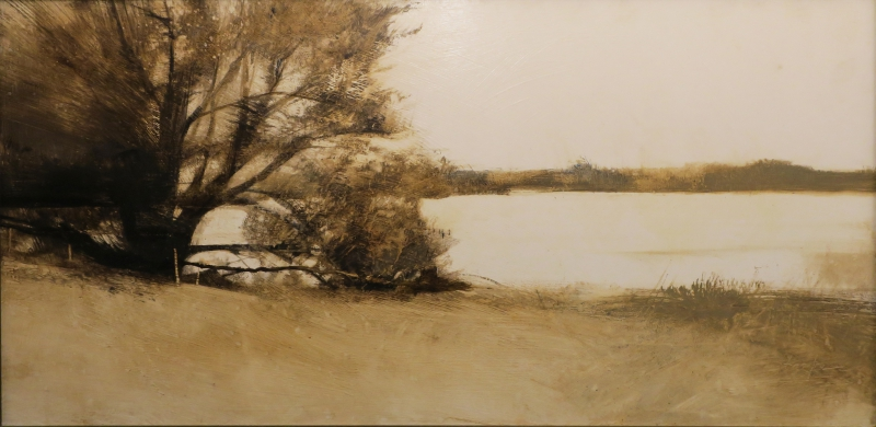 "Charlie Hunter, ""St. Regis Lake II."" Oil on panel, 16 in. x 32 in."