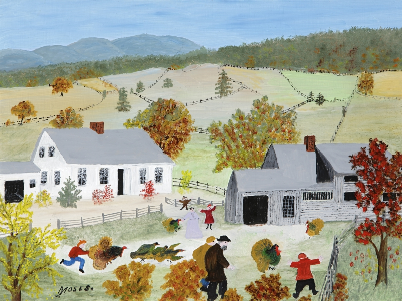 "Anna Mary Robertson ""Grandma"" Moses (1860-1961), ""Catchin' The Turkey,"" 1955. Oil on pressed wood, 12 x 16 inches."