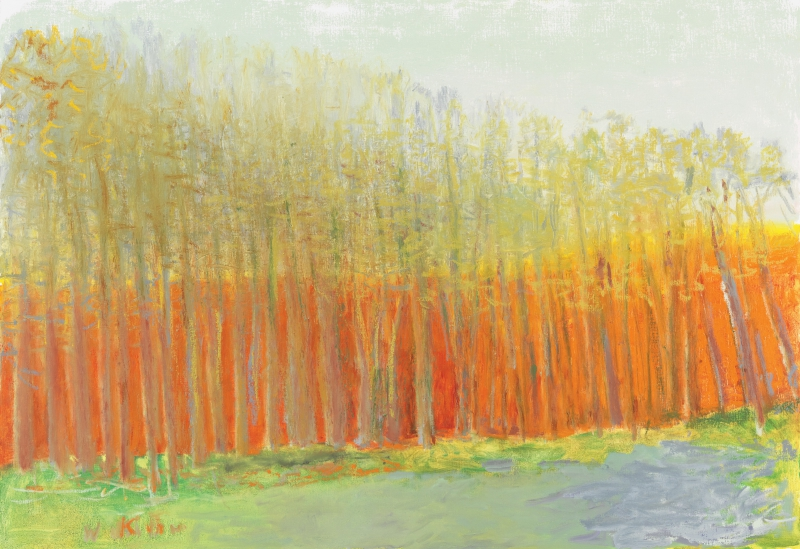 """Wolf Kahn: Density & Transparency.""  Recent paintings by one of the most highly regarded living American artists. June 23-Oct 8 at Brattleboro Museum & Art Center. Above: ""Orange Behind the Trees,"" 2017. Oil on canvas; 36 x 52 inches."