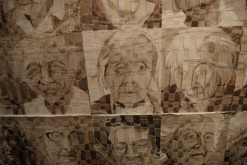 Williamsville artist Deidre Scherer's torn-paper weavings.