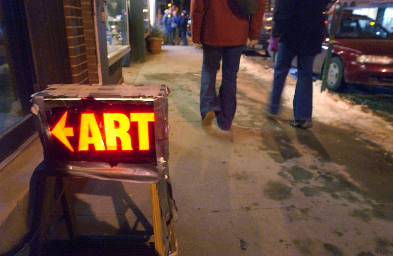 Art sign at Brattleboro's monthly first-Friday Gallery Walk event.